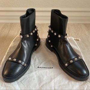 BALENCIAGA Studded BlK Leather Motorcycle Boots 38